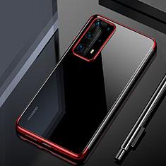 Silikon Schutzhülle Ultra Dünn Tasche Durchsichtig Transparent H02 für Huawei P40 Pro+ Plus Rot