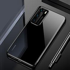 Silikon Schutzhülle Ultra Dünn Tasche Durchsichtig Transparent H02 für Huawei P40 Schwarz