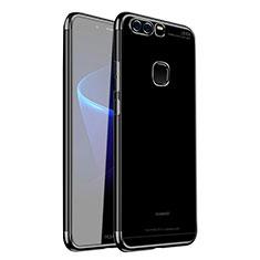 Silikon Schutzhülle Ultra Dünn Tasche Durchsichtig Transparent H02 für Huawei P9 Schwarz