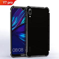 Silikon Schutzhülle Ultra Dünn Tasche Durchsichtig Transparent H02 für Huawei Y7 (2019) Schwarz
