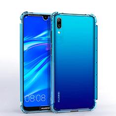 Silikon Schutzhülle Ultra Dünn Tasche Durchsichtig Transparent H02 für Huawei Y7 Prime (2019) Hellblau