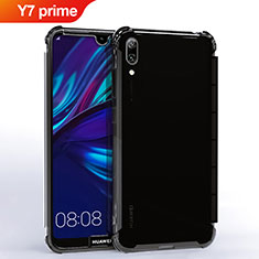 Silikon Schutzhülle Ultra Dünn Tasche Durchsichtig Transparent H02 für Huawei Y7 Prime (2019) Schwarz