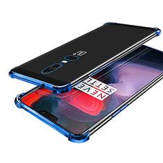 Silikon Schutzhülle Ultra Dünn Tasche Durchsichtig Transparent H02 für OnePlus 6 Blau