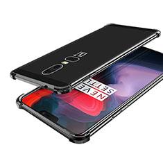 Silikon Schutzhülle Ultra Dünn Tasche Durchsichtig Transparent H02 für OnePlus 6 Schwarz