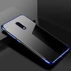 Silikon Schutzhülle Ultra Dünn Tasche Durchsichtig Transparent H02 für OnePlus 7 Blau
