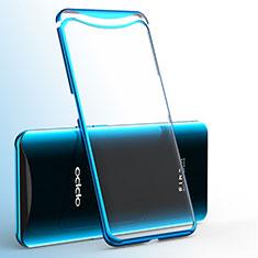 Silikon Schutzhülle Ultra Dünn Tasche Durchsichtig Transparent H02 für Oppo Find X Blau