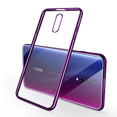 Silikon Schutzhülle Ultra Dünn Tasche Durchsichtig Transparent H02 für Oppo Realme X Violett