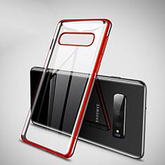 Silikon Schutzhülle Ultra Dünn Tasche Durchsichtig Transparent H02 für Samsung Galaxy S10 Plus Rot