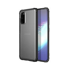 Silikon Schutzhülle Ultra Dünn Tasche Durchsichtig Transparent H02 für Samsung Galaxy S20 5G Schwarz