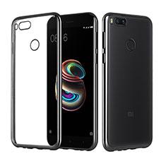 Silikon Schutzhülle Ultra Dünn Tasche Durchsichtig Transparent H02 für Xiaomi Mi A1 Schwarz