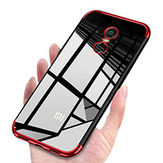 Silikon Schutzhülle Ultra Dünn Tasche Durchsichtig Transparent H02 für Xiaomi Redmi 5 Plus Rot