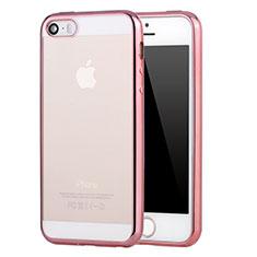 Silikon Schutzhülle Ultra Dünn Tasche Durchsichtig Transparent H03 für Apple iPhone 5S Rosa