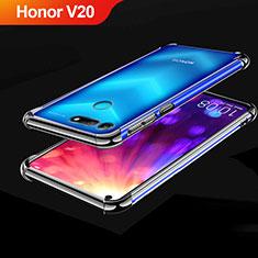 Silikon Schutzhülle Ultra Dünn Tasche Durchsichtig Transparent H03 für Huawei Honor V20 Schwarz