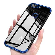 Silikon Schutzhülle Ultra Dünn Tasche Durchsichtig Transparent H03 für Huawei P Smart Blau