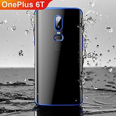 Silikon Schutzhülle Ultra Dünn Tasche Durchsichtig Transparent H03 für OnePlus 6T Blau