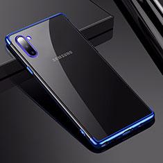 Silikon Schutzhülle Ultra Dünn Tasche Durchsichtig Transparent H03 für Samsung Galaxy Note 10 Blau
