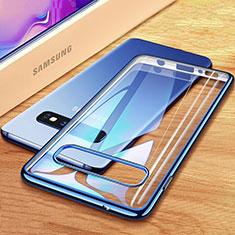 Silikon Schutzhülle Ultra Dünn Tasche Durchsichtig Transparent H03 für Samsung Galaxy S10 Plus Blau