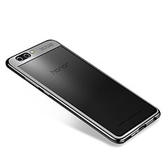 Silikon Schutzhülle Ultra Dünn Tasche Durchsichtig Transparent H04 für Huawei Honor V10 Schwarz