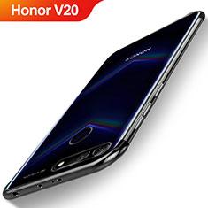 Silikon Schutzhülle Ultra Dünn Tasche Durchsichtig Transparent H04 für Huawei Honor V20 Schwarz