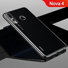 Silikon Schutzhülle Ultra Dünn Tasche Durchsichtig Transparent H04 für Huawei Nova 4 Schwarz