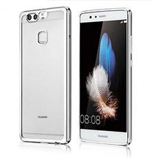 Silikon Schutzhülle Ultra Dünn Tasche Durchsichtig Transparent H04 für Huawei P9 Plus Silber
