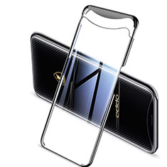Silikon Schutzhülle Ultra Dünn Tasche Durchsichtig Transparent H04 für Oppo Find X Super Flash Edition Schwarz