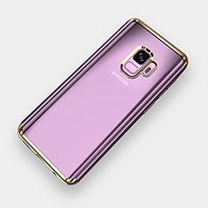 Silikon Schutzhülle Ultra Dünn Tasche Durchsichtig Transparent H04 für Samsung Galaxy S9 Gold