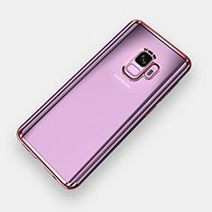 Silikon Schutzhülle Ultra Dünn Tasche Durchsichtig Transparent H04 für Samsung Galaxy S9 Rosegold