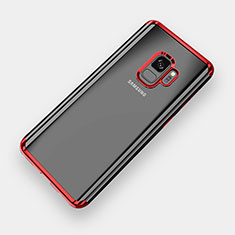 Silikon Schutzhülle Ultra Dünn Tasche Durchsichtig Transparent H04 für Samsung Galaxy S9 Rot