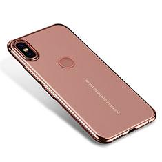 Silikon Schutzhülle Ultra Dünn Tasche Durchsichtig Transparent H04 für Xiaomi Mi Mix 2S Rosegold