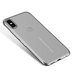 Silikon Schutzhülle Ultra Dünn Tasche Durchsichtig Transparent H04 für Xiaomi Mi Mix 2S Silber