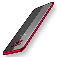 Silikon Schutzhülle Ultra Dünn Tasche Durchsichtig Transparent H05 für Samsung Galaxy S8 Rot