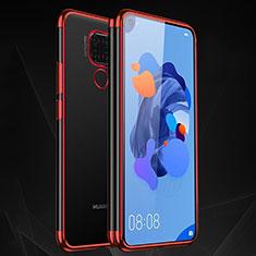 Silikon Schutzhülle Ultra Dünn Tasche Durchsichtig Transparent H06 für Huawei Mate 30 Lite Rot