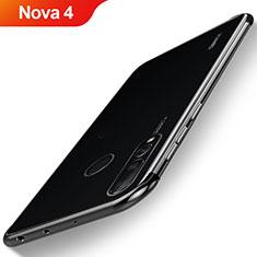 Silikon Schutzhülle Ultra Dünn Tasche Durchsichtig Transparent H06 für Huawei Nova 4 Schwarz