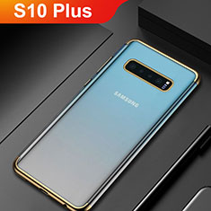 Silikon Schutzhülle Ultra Dünn Tasche Durchsichtig Transparent H06 für Samsung Galaxy S10 Plus Gold