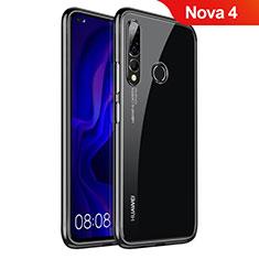 Silikon Schutzhülle Ultra Dünn Tasche Durchsichtig Transparent H07 für Huawei Nova 4 Schwarz