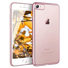 Silikon Schutzhülle Ultra Dünn Tasche Durchsichtig Transparent H11 für Apple iPhone 7 Rosegold