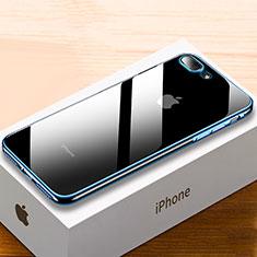 Silikon Schutzhülle Ultra Dünn Tasche Durchsichtig Transparent HC02 für Apple iPhone 8 Plus Blau