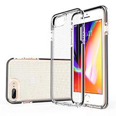 Silikon Schutzhülle Ultra Dünn Tasche Durchsichtig Transparent HT01 für Apple iPhone 8 Plus Schwarz