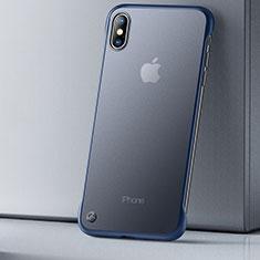 Silikon Schutzhülle Ultra Dünn Tasche Durchsichtig Transparent HT01 für Apple iPhone Xs Max Blau