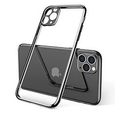 Silikon Schutzhülle Ultra Dünn Tasche Durchsichtig Transparent S01 für Apple iPhone 11 Pro Max Schwarz