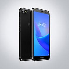 Silikon Schutzhülle Ultra Dünn Tasche Durchsichtig Transparent S01 für Huawei Y5 Prime (2018) Schwarz