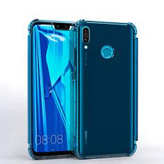Silikon Schutzhülle Ultra Dünn Tasche Durchsichtig Transparent S01 für Huawei Y9 (2019) Blau