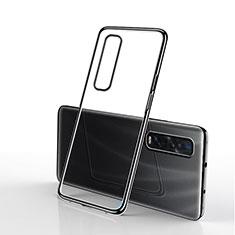 Silikon Schutzhülle Ultra Dünn Tasche Durchsichtig Transparent S01 für Oppo Find X2 Pro Schwarz