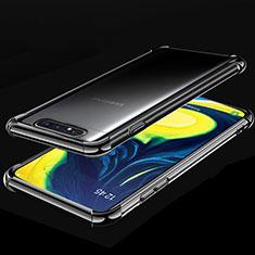 Silikon Schutzhülle Ultra Dünn Tasche Durchsichtig Transparent S01 für Samsung Galaxy A80 Schwarz