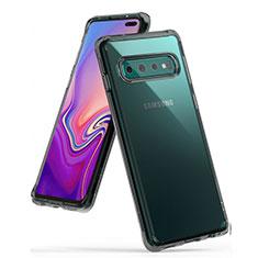 Silikon Schutzhülle Ultra Dünn Tasche Durchsichtig Transparent S01 für Samsung Galaxy S10 Plus Grau
