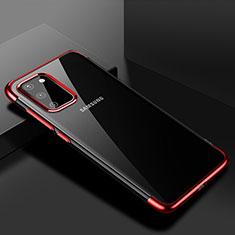 Silikon Schutzhülle Ultra Dünn Tasche Durchsichtig Transparent S01 für Samsung Galaxy S20 5G Rot