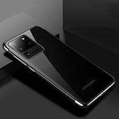 Silikon Schutzhülle Ultra Dünn Tasche Durchsichtig Transparent S01 für Samsung Galaxy S20 Ultra 5G Schwarz