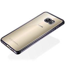 Silikon Schutzhülle Ultra Dünn Tasche Durchsichtig Transparent S01 für Samsung Galaxy S6 Edge+ Plus SM-G928F Schwarz