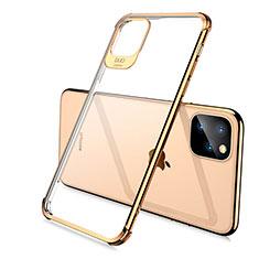 Silikon Schutzhülle Ultra Dünn Tasche Durchsichtig Transparent S02 für Apple iPhone 11 Pro Max Gold